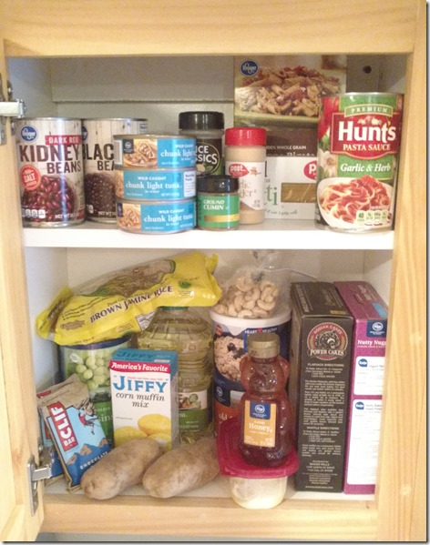 Stocked cupboard for college student