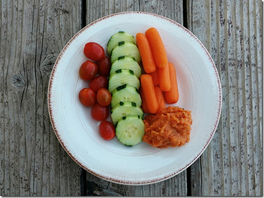 hummus and veggie snack